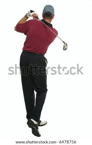 Rear view of a golfer during his back swing.