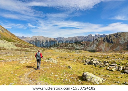 Rear view of a male hiker in autumn walking in the Tyrolean Alps, Austria. Landscape with grass, rocky mountains and blue sky #1553724182