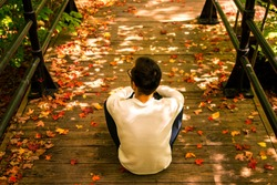 Rear view of a man traveler sitting on wooden floor along the Escarpment Path in parc du Mont-Royal, Montreal, Canada. Stairs in park covered with autumn maple leaves