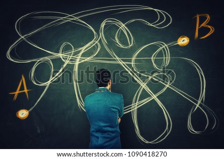 Rear view of a puzzled businessman in front of a blackboard finding the correct way from point A to point B. Solving problem, find solution, business idea and creativity concept.