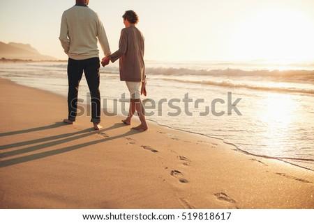 rear view of a senior couple...