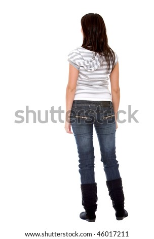 Rear view of a woman isolated over a white background