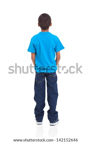 rear view of african american boy isolated on white background #142152646