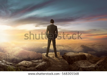 Rear view of asian businessman on the top of the hill looking wonderful scenery in mountains during sunset