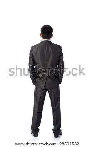Rear view of asian young business man, isolated over white background, full length portrait of businessman standing back