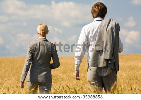 Rear view of associates in suits walking in wheat field