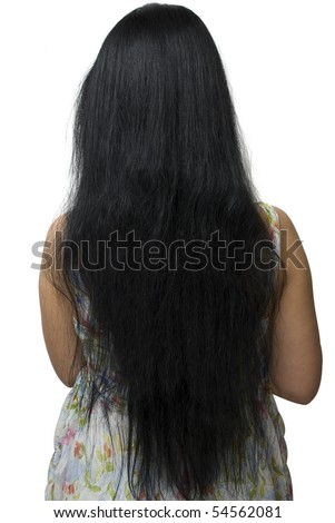 Rear view of beautiful brunette woman long hair standing with back ...