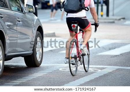 rear view of bicyclist in full...
