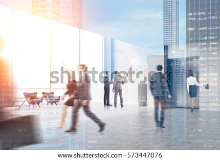 Rear view of business people in an elevator hall of their office. There is a reception desk in the corner. Panoramic windows. 3d rendering. Toned image. Mock up. Double exposure. #573447076
