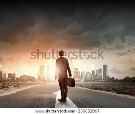 Rear view of businessman with suitcase standing on road