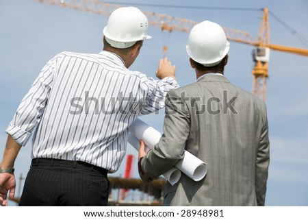 Rear view of contractor pointing at crane with his colleague near by