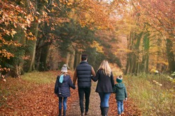 Rear View Of Family Walking Arm In Arm Along Autumn Woodland Path Together