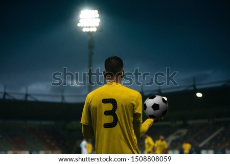 Rear view of football player throwing ball against football arena #1508808059