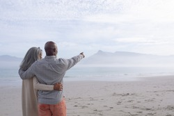 Rear view of happy senior African-American couple standing next to each other while looking at the sea and mountains on beach on beautiful cloudy day. African-American man points with right hand to