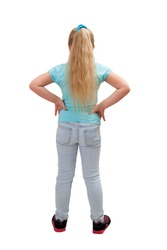 Rear view of long hire blonde girl in studio