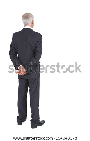 Rear view of mature businessman posing on white background - stock photo