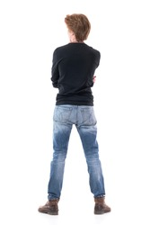 Rear view of red hair handsome young gallery spectator watching with curiosity being impressed. Full body length isolated on white background.