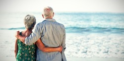 Rear view of senior couple at beach against sea