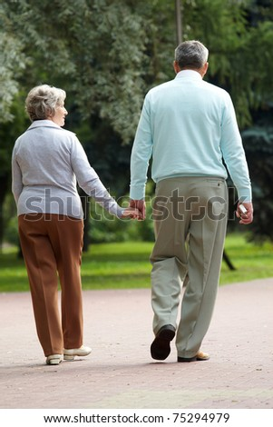 Rear view of senior couple walking down in park and chatting