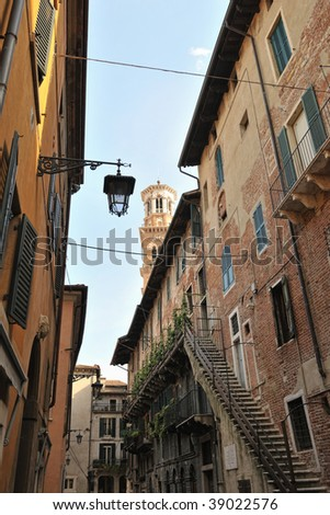 Rear view of the Palazzo Mazzanti, Verona, Italy, Europe, with the Torre dei Lamberti in the background