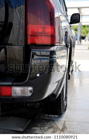 rear view of the SUV car, lights and wheel. #1110080921