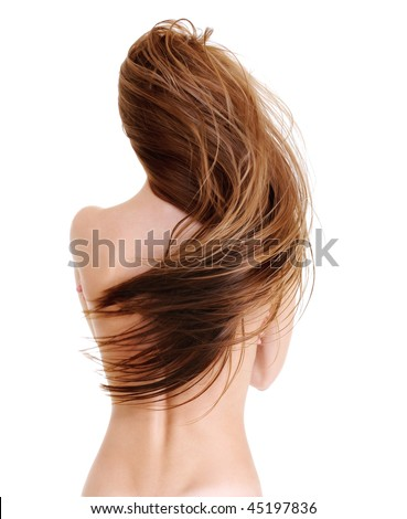Rear view of the young female with beauty straight long hairs in wave shape - on a white