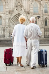 Rear view of traveling mature spouses walking with luggage around city