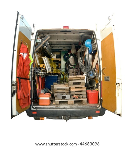 Rear view of utility service van vehicle