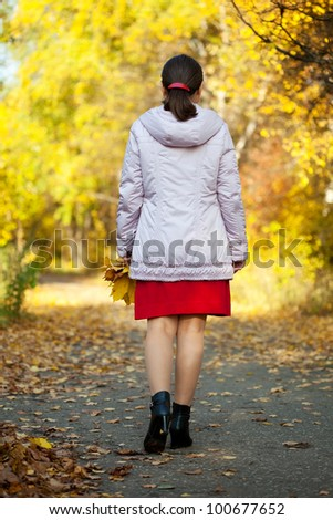 Rear view of walking woman in autumn park