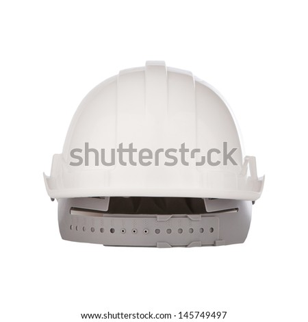 rear view of white safety helmet isolated background
