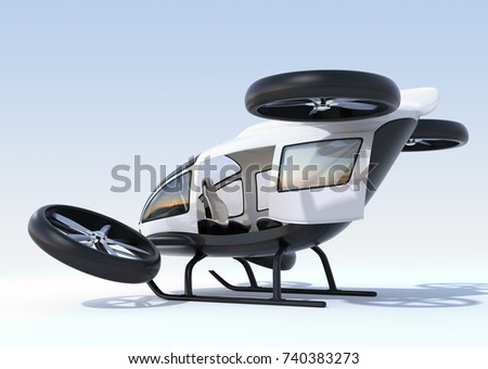 Rear view of white self-driving passenger drone landing on the ground, left cabin door opened. 3D rendering image.
