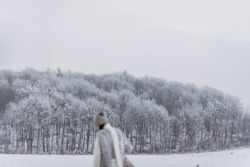 Rear view of woman silhouette on winter forest background