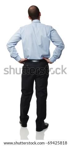 rear view of young caucasian businessman on white