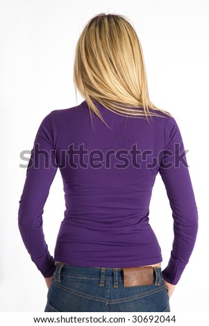 Rear view of young woman with blank mor shirt