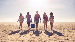 Rear view portrait of group of friends walking on the beach and helping each other while carrying a cooler box. Young people on sea shore on a summer day.