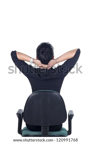 Rear View, Thinking business woman standing isolated on white background in full body. Model is Asian woman.