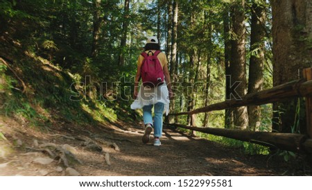 Rear view Traveler girl with a backpack walks along a trail in a mountain forest. Walking on the forest
