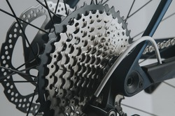 Rear wheel cassette from a mountain bike. Close up detailed view.