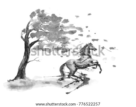 Stock Photo Rearing up horse with ink or watercolor blots stains and autumn tree with fall leaves on white. Black and white monochrome Hand drawing art of black stallion. England equestrian fox hunting style