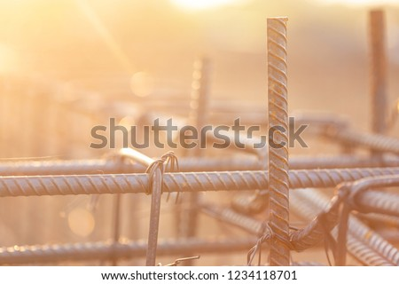 Rebar steel for Grade Beam/Ground beam in process of house building. Construction of reinforced concrete foundation beam #1234118701