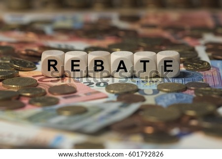 rebate - cube with letters, sign with wooden cubes Stock photo ©