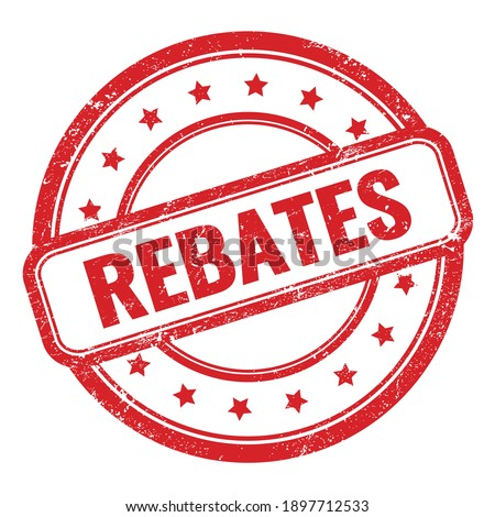 REBATES text on red grungy vintage round rubber stamp. Stock photo ©