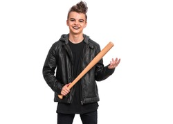 Rebellious teen boy dressed in black, isolated on white background. Young teenager in style of punk goth wearing leather jacket, holding wooden bat. Problems of transitional age.