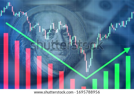 Rebound Franklin portrait as a symbol of financial market. Concept - Dead cat bounce. Charts depict growth after falling. Charts on a blue background. Rebound after stock price crash. Stock exchange Foto d'archivio ©