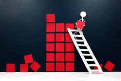Rebuild, restart and recovery of economy concept. Human stick figure fixing broken building blocks.