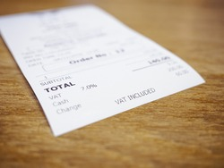 Receipt Bill Payment Vat included Total amount Business Consumer Shopping