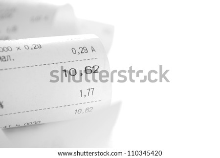 receipt paper a description of purchases on a white background and copy space