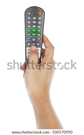 Receiver remote control. Isolated and hand