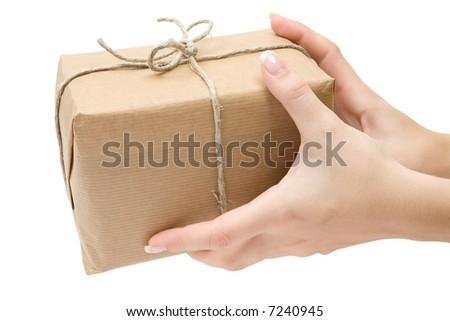Receiving a Parcel - stock photo