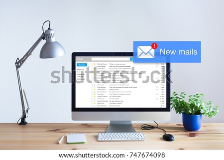 Receiving email in inbox concept with popup notification of new unread mails appearing on computer screen, marketing, spam